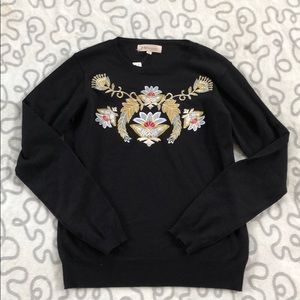 Philosophy Embroidered Navy Sweater